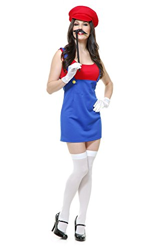 Charades Women's Patty The Plumber, Blue/Red, Small