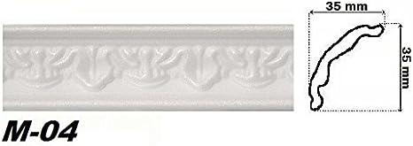 5 Bandes 10 M/ètres blanc Profil DAngle Polystyrolleiste Corniche de Plafond D/écor Stuc hexim 35x35mm M-04