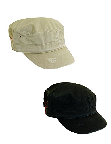 Dorfman Pacific Cotton Distressed Military Cadet Cap (Pack of 2), Khaki/Black - Pacific Military Hat