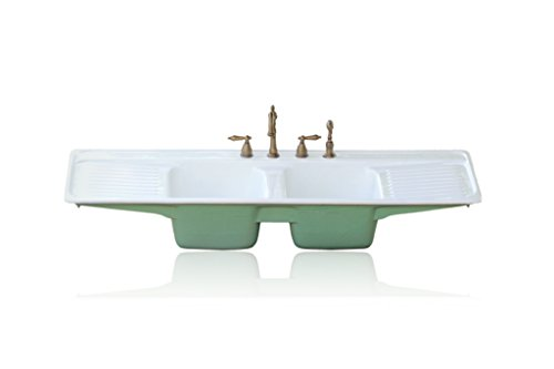 "Large 60"" Double Basin Arsenic Green Farm Sink Double Drainboard Drop In Cast Iron Kitchen Sink Package"