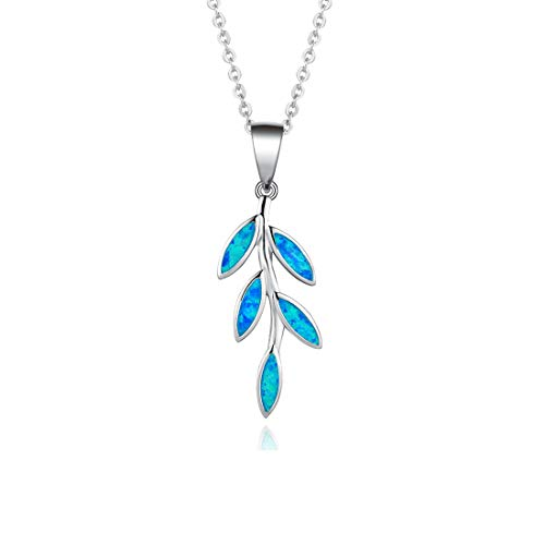 FANCIME Blue Opal Olive Leaf Pendant Necklace 925 Sterling Silver Long Chain Dainty Jewelry for Women Girls 16