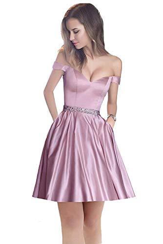 Satin Homecoming Light Women's Short Dreambridal Pink Off 014 Dresses Shoulder Cocktail Beaded wCApaqO