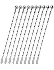 Stainless Steel Coffee Beverage Stirrers Stir Cocktail Drink Swizzle Stick with Small Rectangular Paddles-10 Pack