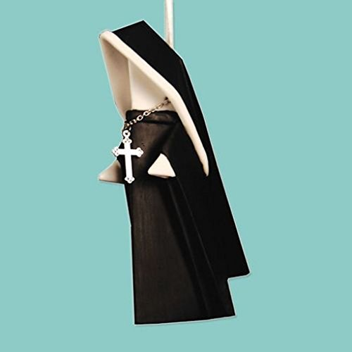 Christmas Porcelain Origami Nun Ornament with Cross, 3.75 Inches, Black and White, Black and White, 3.75 inch