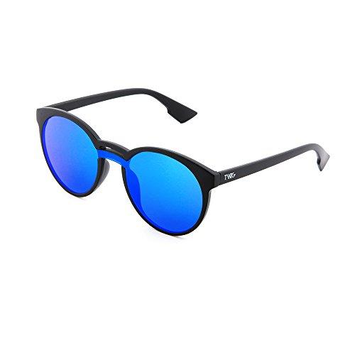 TWIG hombre mujer GOYA Gafas sol Azul de espejo redondo Negro ZnqaO6