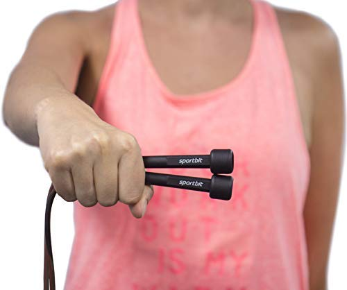 SPORTBIT Jump Rope for Speed Skipping - Adjustable to All Heights - with Bag & Excercise e-Book
