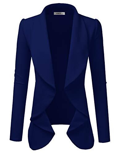 NINEXIS Womens Classic Draped Open Front Blazer, Navy 3X Plus Size (Navy Classic Blazer)