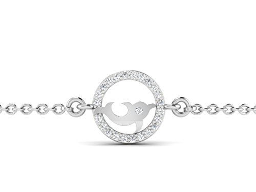 Or Blanc 18 ct Bracelet Diamant en forme de poisson, 0.05 Ct Diamant, GH-SI, 1.88 grammes.