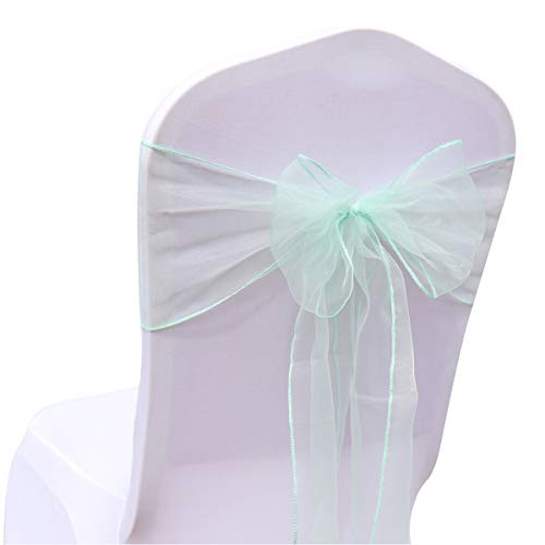 BIT.FLY 25 Pcs Organza Chair Sashes for Wedding Banquet Party Decoration Chair Bows Ties Chair Cover Bands Event Supplies - Mint -