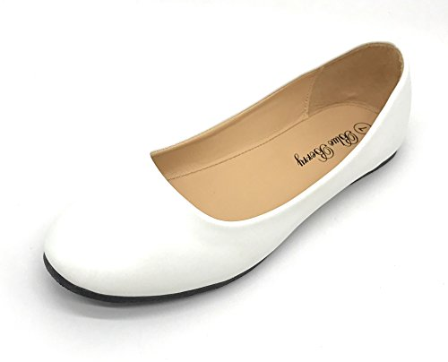 Blue Berry EASY21 Damen Casual Flats Ballett Mode Schuhe Kunstleder Weiß01