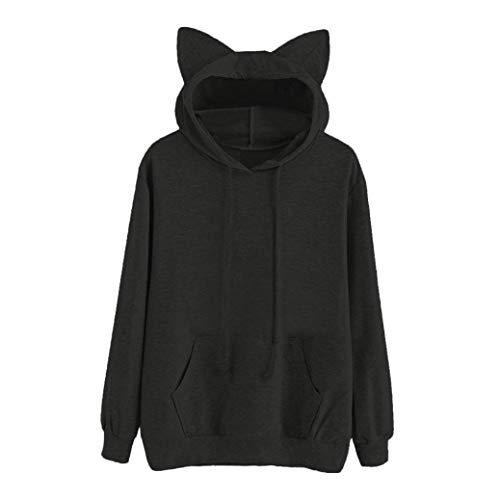 Anxinke Women Teen Girls Cute Cat Ear Long Sleeve Hoodies Pockets Sweatshirts (L, Black) by Anxinke