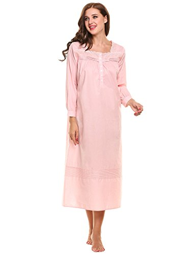 Hotouch Nightgowns Womens Cotton Night Shirts Sleeveless Sleep Dress Pink Purple S