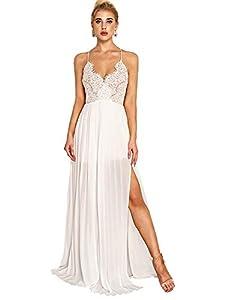 Milumia Womens Bohemian V Neck Sleeveless Spaghetti Strap Lace Elegant Party Maxi Dress