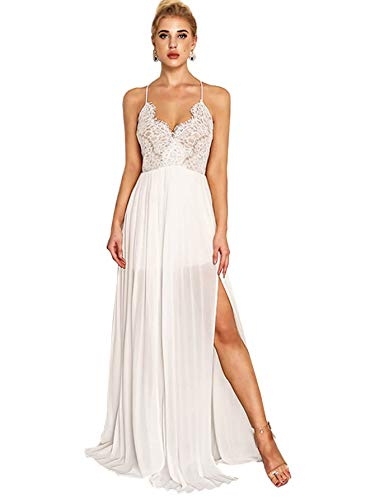 Milumia Womens Bohemian V Neck Sleeveless Spaghetti Strap Lace Elegant Party Maxi Dress A-White L