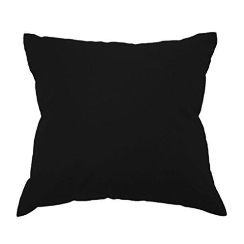 Qool24 Baumwolle Kissen Dekokissen Sofakissen Schlafkissen Kopfkissen Couchkissen Rückenkissen in 28 Uni Farben 19 Größen Schwarz 80x80 cm