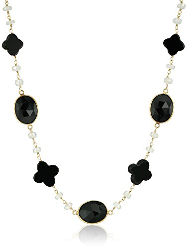 Moonstone Faceted Roundel - Gold-Plated Sterling Silver Black Onyx Clover Shape and Faceted Oval Bezel with Moonstone Roundel Link Chain Necklace, 18