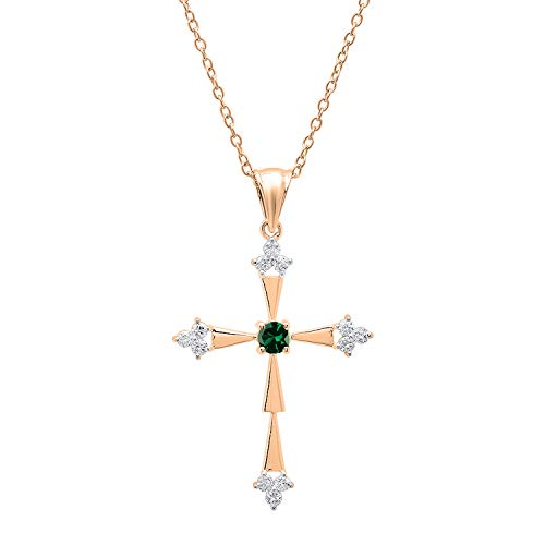 Dazzlingrock Collection 18K Round Lab Created Emerald & Diamond Cross Pendant (Gold Chain Included), Rose Gold