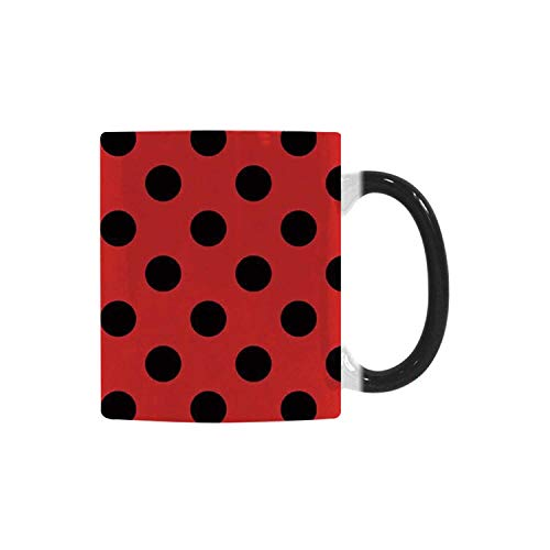 Red and Black Utility Morphing Mug,Retro Vintage Pop Art Theme Old 60s 50s Rocker Inspired Bold Polka Dots Image for Home,10.3OZ -