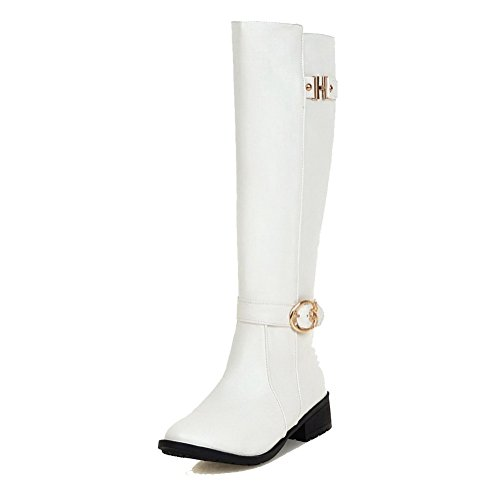Heels WeiPoot Women's Solid PU White High top Zipper Boots Low qBAUBtP