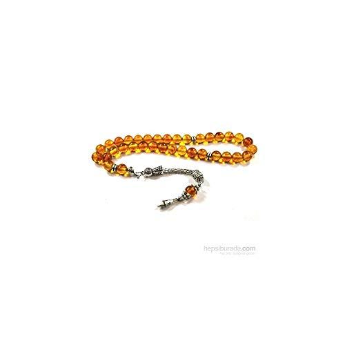 - LaModaHome Muslim Prayer Beads%100 Natural Stone & Brown-Transparent & Drop Shaped - 33 Beads - Amber Stone & Decorated Tassels Made in Turkey & Tasbih & Muslim Rosary & Islamic Gift