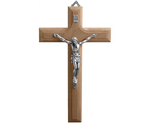 Croix de Jésus 20cm - Véritable bois d'olivier - Attache murale Christ-en-or