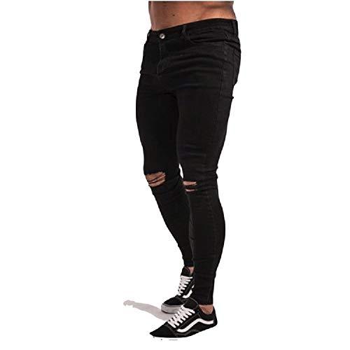 elástico los Lleva Altos Negro Pantalones Pantalones Que Hombres sólidos pequeños elásticos Vaqueros Negros algodón Estilo Vaqueros Comodidad Alta del Vaqueros Dril de Rasgados Pantalones Oudan de básico xavHnwSFF