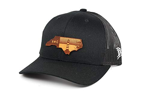 Branded Bills North Carolina 'The Lighthouse' Leather Patch Hat Curved Trucker - OSFA/Black
