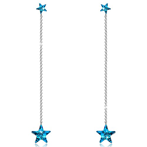 - NINASUN Blue Star Earrings for Women 925 Sterling Silver Drop Dangle Earrings Swarovski Crystal Fine Jewelry for Women Birthday Gifts for Teens Girls Daughter Girlfriend Anniversary Gifts for Wife Her