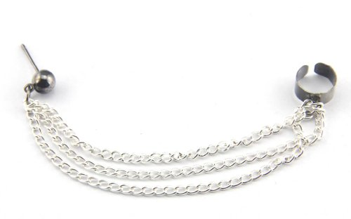 Baqi 1 Punk Silver Tassels Fringes Chain Black Ear Cuff Stud Clip Earrings Goth Rock Silver
