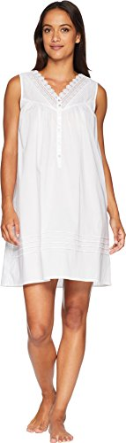 Eileen West Women's Cotton Lawn Short Chemise Solid White X-Small (Pintucked Nightgown)