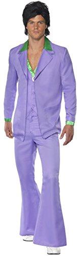[Men's Classic 70s Lavender Pimp Groovy Disco Dude Suit Costume Medium 38-40] (Child Straight Jacket Costume)