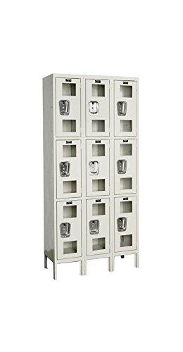 78 in. High 3-Tier Safety-View Assembled Locker in Parchment (12 in. W x 18 in. D x 78 in. H)