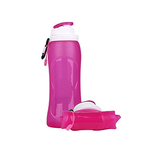Chuncubes 1 PCS Collapsible Silicone Water Bottle,Medical Grade,BPA Free,FDA Approved,Leak Proof, Foldable Sports & Outdoor Water Bottle,Travel, Gym, Biking, Jogging, Running, Hiking 17oz (Pink)
