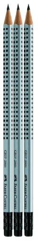 Faber-Castell 117298 - 3 GRIP Bleistifte 2001 mit Gummi-Tip, Härtegrad: HB, Schaftfarbe: silber