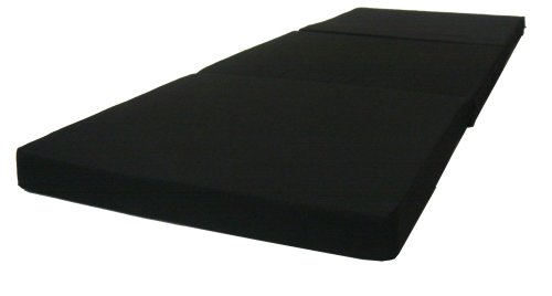 Black Tri Fold Foam Beds 3 x 27 X 75 Inch, Floor Tri-Fold Bed, High Density Foam 1.8 (Futon Cushion)