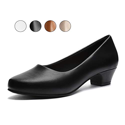 GUCHENG Chunky Low Heels Pump Wmen's Shoes - Dress Comfortable Ladies Formal Width Black Brown White Shoes