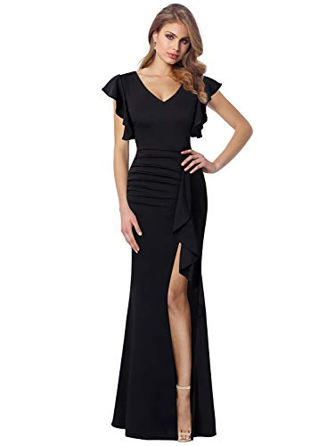 Frill Sleeve Dress - VFSHOW Womens Black Ruffles Ruched Frill Sleeves High Slit Formal Evening Prom Party Maxi Dress 2178 BLK M