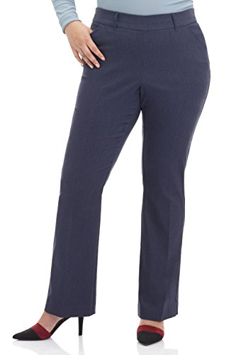 Rekucci Curvy Woman Ease in to Comfort Fit Barely Bootcut Plus Size Pant (18W,Indigo)