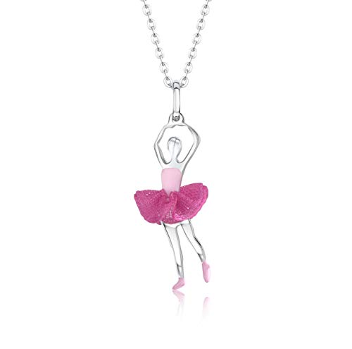 UNICORNJ Childrens Teen Sterling Silver 925 Ballerina Ballet Dancer Pendant Necklace with Dark Pink Tulle Tutu and Light Pink Enamel 16