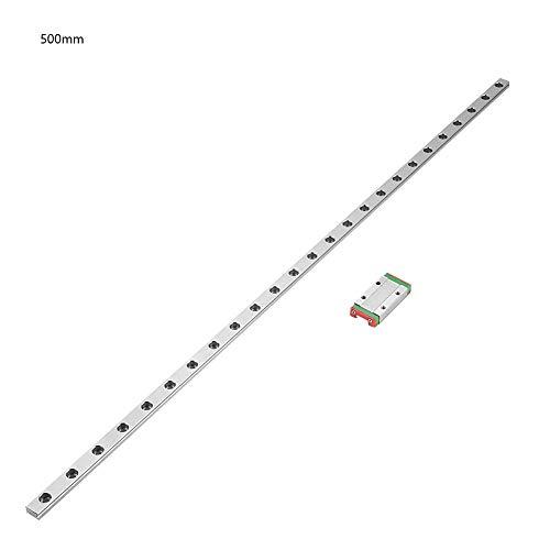 Guía de Carril Lineal Diapositivas de Deslizamiento Lineal Riel con Carro de Bloqueo para Impresora 3D Máquina CNC 550 mm