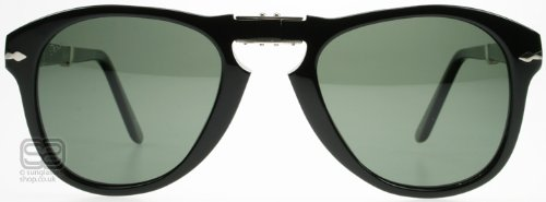 Persol 0PO0714 95/58 Foldable Sunglasses, Black Frame, Green Polarized 54mm - Persol Black