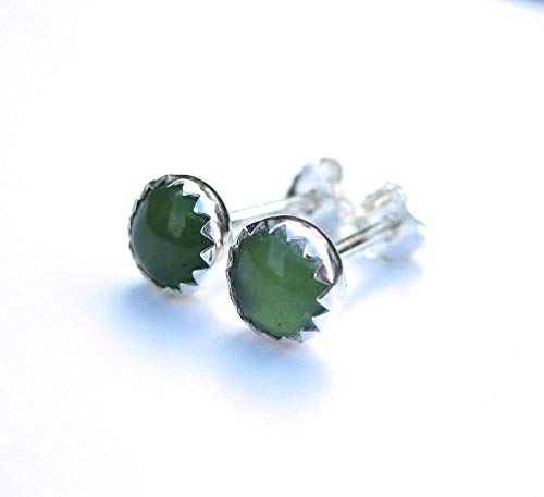 Green Gemstone Stud Earrings, Serpentine Earrings in Sterling Silver ()