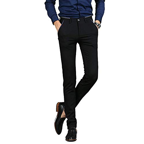 - Mens Stretch Dress Pants Slim Fit Suit Pant Flat Front Trousers for Men Black 32