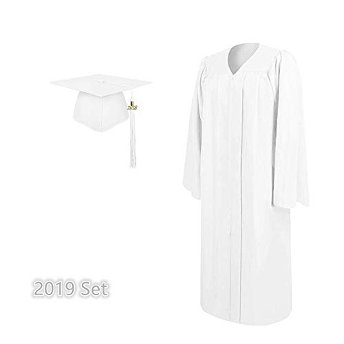 (2019 Matte Adult Graduation Gown Cap Tassel Set (White,)