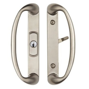 Center Position Keylocking Sonoma Sliding Door Handle in Brushed Nickel Will only Fit 1-3/4