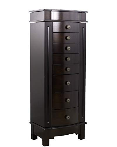Hives and Honey 8008-472 Shiloh Large Jewelry Armoire Cabinet Standing Storage Chest Neckalce Organizer, Dark Walnut
