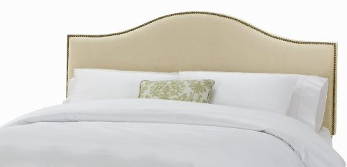 Arched Velvet Upholstered Headboard (Skyline Furniture North Avenue King Velvet-Upholstered Headboard with Nail-Button Trim, Buckwheat)