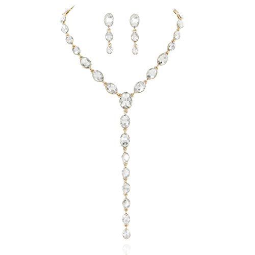 SP Sophia Collection Y Women's Jewelry Descending Oval Drop Necklace and Earrings Set in Gold Clear - Gold Jewelry Collection
