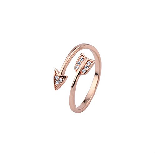DYbaby Crystal Love Struck Arrow Ring Adjustable Copper Wrapped Ring Free Size Ring Gift for Womens and Girls (Rose Gold) (Arrow Ring Wrap)