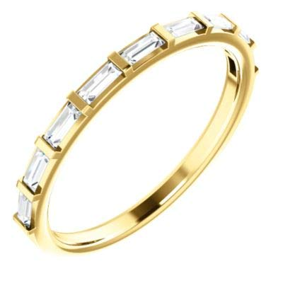 14k Yellow Gold 3x1.25mm 0.25 Dwt Diamond Straight Baguette Anniversary Band Ring - Size 6.5